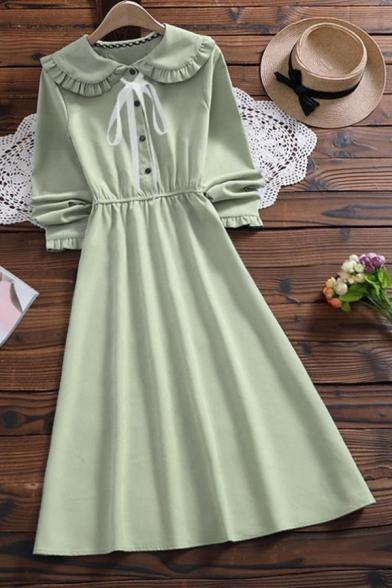 Youthful Women's Shirt Dress Solid Color Tied Button Design Peter Pan Collar Long Sleeves Regular Fit Shirt Dress