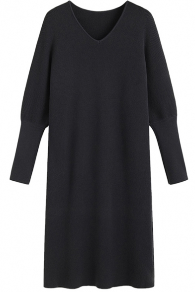 Leisure Women's Sweater Dress Solid Color V Neck Long Batwing Sleeves Regular Fitted Midi Sweater Dress