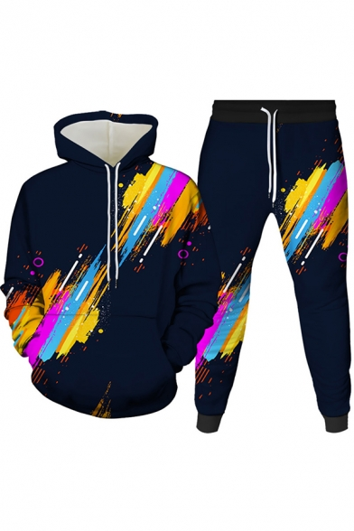 Mens Co-ords Stylish Monster Brush Stroke Visual Deception Pattern Slim Fitted 7/8 Length Tapered Pants Long Sleeve Hoodie Jogger Co-ords