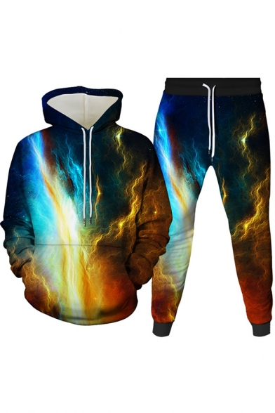 Mens Co-ords Trendy 3D Sky Pattern Long Sleeve Hoodie Ankle Length Tapered Pants Slim Fit Jogger Co-ords
