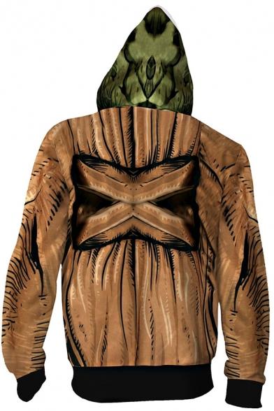 Mens Hoodie Stylish Cosplay 3D Baby Yoda Zipper Fly Drawstring Long Sleeve Slim Fit Hooded Sweatshirt