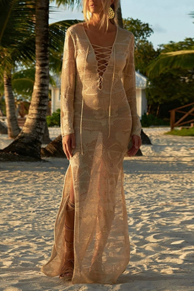 Sexy Women's Maxi Dress Broderie Detail Lace up Side Slit Long Sleeve V Neck Knitted Maxi Dress