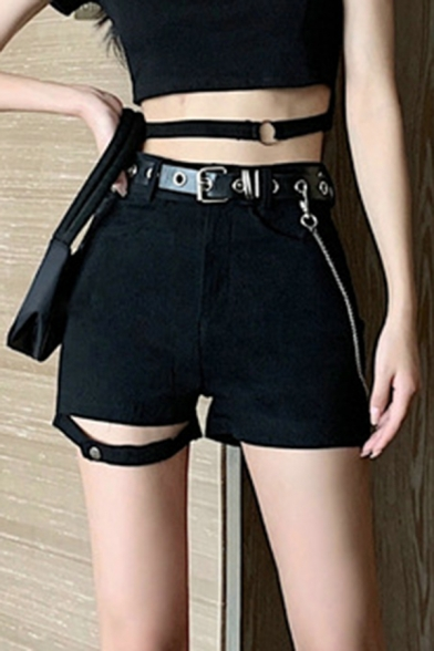 Trendy Women's Shorts Slit Hem Plain Side Split High Waisted Fitted Elasticity Straight Shorts