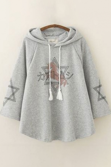Unique Womens Poncho Crescent Moon Star Cat Print Striped-Hem Drawstring Long Sleeve Loose Fitted Poncho