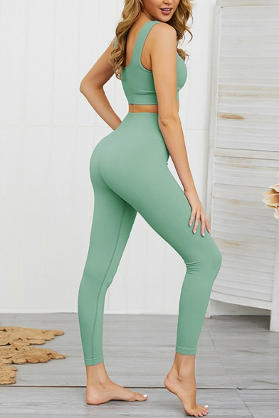 Womens Co-ords Fashionable Plain Sweat-Absorbing Seamless Skinny Fitted Leggings V Neck Cropped Sleeveless Tank Top Yoga Co-ords
