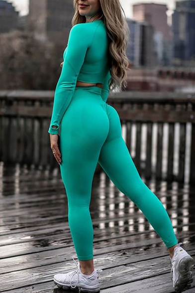 Womens Co-ords Stylish Plain Ventilation Seamless Skinny Fitted Leggings Crew Neck Long Sleeve Cropped Tee Yoga Co-ords