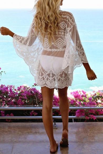 Sexy Women's A-Line Dress Transparent Broderie Detail Drawstring Waist Scalloped Hem V Neck Batwing Sleeves A-Line Dress