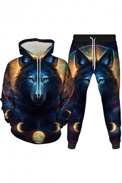 Vintage Mens 3D Co-ords Wolf Moon-Phase Meteor Pattern Slim Fitted 7/8 Length Tapered Pants Long Sleeve Hoodie Jogger Co-ords