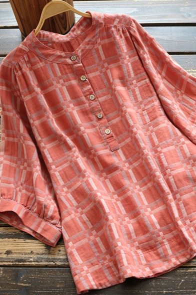 Vintage Women's Shirt Plaid Pattern Button Design Bishop Sleeves Stand Collar Relaxed Fit Shirt Blouse