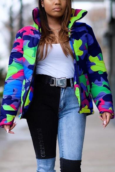 Retro Womens Down Jacket Camo Pattern Zipper up High Neck Loose Fit Long Sleeve Puffer Jacket