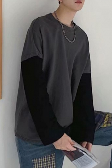 Basic Mens Sweatshirt Contrast Patchwork Faux Twinset Round Neck Long Sleeve Loose Fit Pullover Sweatshirt