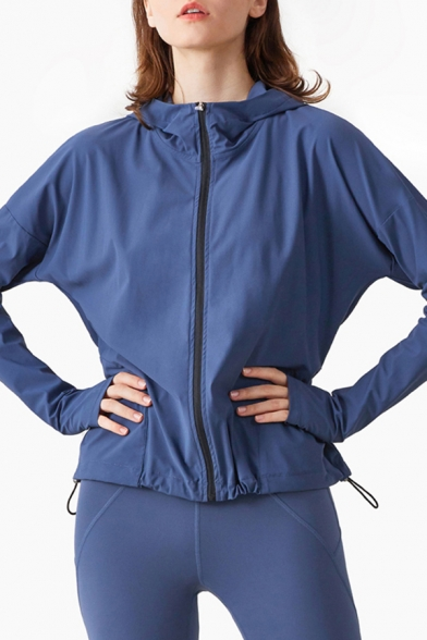Casual Womens Jacket Solid Color Quick Dry Drawstring Hem Finger Hole Zip Closure Long Sleeves Regular Fitted Hooded Sporty Jacket