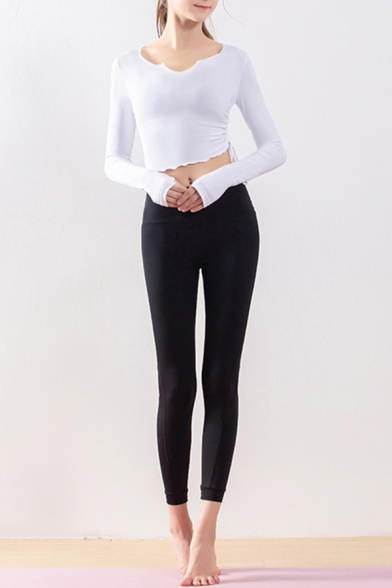 Classic Womens Co-ords Plain Ruched Drawstring Side Quick Dry Long Sleeve Cropped Asymmetric Neck Tee Skinny Fitted Leggings Yoga Co-ords