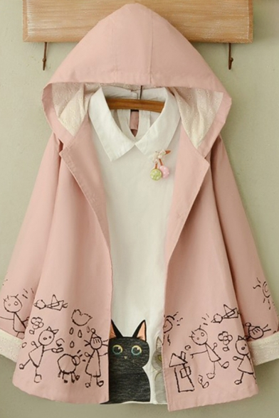 Classic Womens Jacket Doodle Figure Cloud Rain Pattern Floral Embroidered Hollow out Patchwork Button up Hooded Loose Fit Long Sleeve Casual Jacket