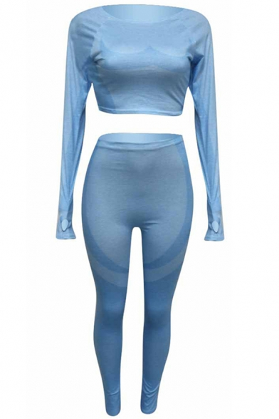 Elegant Women's Set Space Dye Pattern Panelled Round Neck Long-sleeved Slim Fitted Cropped Tee Top with High Waist Pants Co-ords