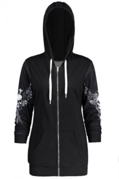 Hot Fashion Skull Wing Printed Long Sleeve Black Sports Zip Up Hoodie