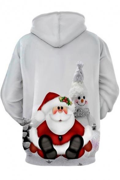 Womens Hoodie Stylish 3D Reindeer Snow Letter Merry Christmas Print Drawstring Kangaroo Pocket Slim Fitted Long Sleeve Hoodie