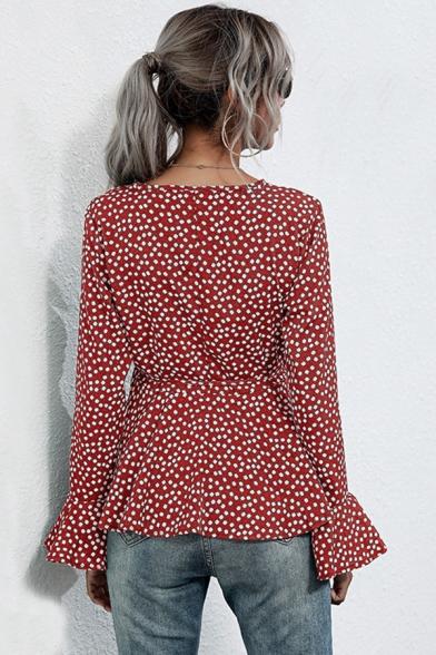 Womens Shirt Stylish Polka Dot Pattern Ruffle Hem Long Flounce Sleeve Surplice Neck Slim Fitted Pullover Shirt