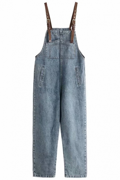 Classic Womens Overalls Pants Faded Wash Pockets Regular Fit 7/8 Length Tapered Denim Overalls Pants