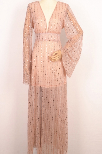 Elegant Women's Gown Dress Glitter Banded Waist Front Slit Long Flare Cuff Sleeves V Neck Maxi Gown Dress