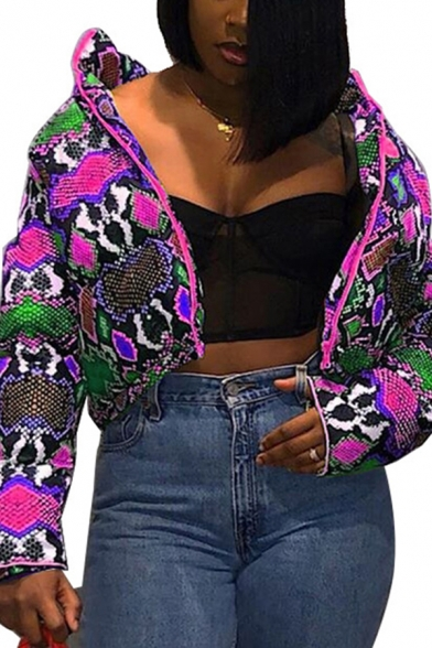 Retro Womens Down Jacket Abstract Pattern Color Block Zipper up High Neck Regular Fit Long Sleeve Puffer Jacket