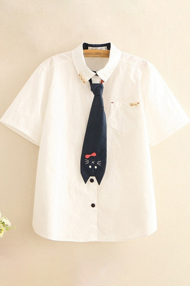 Retro Womens Shirt Chest Pocket Button down Short Sleeve Spread Collar Loose Fit Shirt with Cat-Embroidered Tie