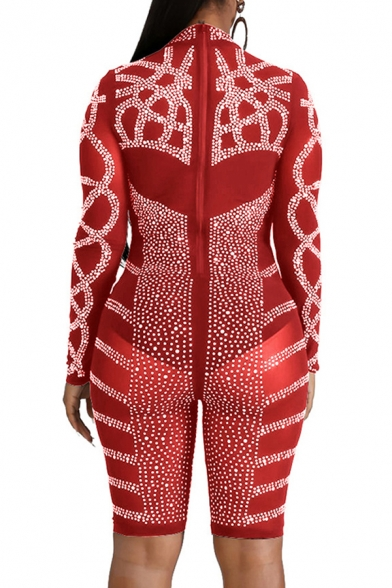 Stylish Women's Romper Glitter Sequined Detail Panel Mock Neck Long Sleeves Slim Fitted Romper