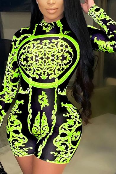 Stylish Women's Romper Tribal Paisley Pattern Long Sleeves Mock Neck Slim Fitted Romper