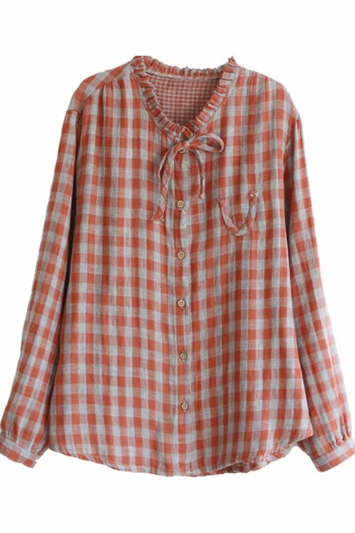 All-Match Women's Blouse Plaid Pattern Ruffles Letter V Embroidered Drawstring Tie Button Fly Stand Collar Long Sleeves Shirt Blouse