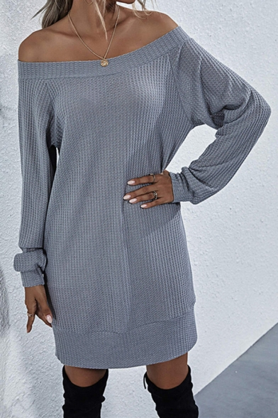 All-Match Women's Swing Dress Solid Color Rib Knitted off the Shoulder Long Sleeves Regular Fitted Swing Dress