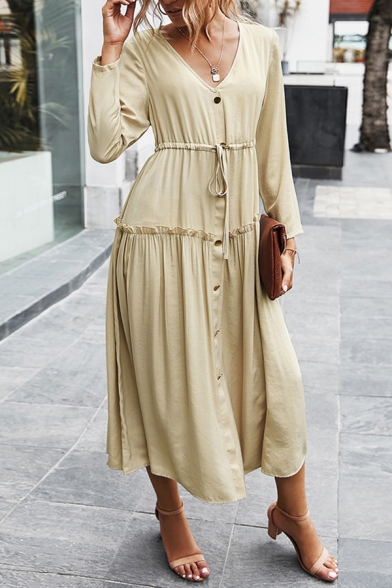 Basic Women's Shirt Dress Solid Color Button-down Drawstring Waist Ruffle Detail V Neck Long-sleeved Regular Fitted Maxi Shirt Dress