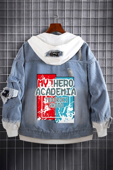 Fashion Printed Ripped Patchwork Long Sleeve Hooded Button Down Denim Jacket