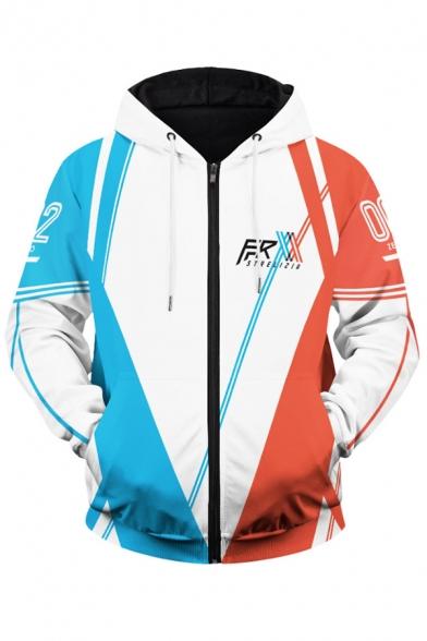 Mens Hoodie Creative Contrast Stripe Number Letter Print Cosplay 3D APEX Loba Zipper Fly Drawstring Long Sleeve Regular Fit Hooded Sweatshirt