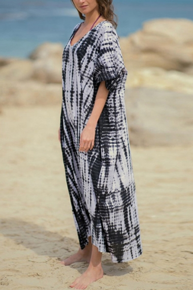 Stylish Women's T-Shirt Dress Tie Dye Pattern V Neck Batwing Sleeves Loose Fit T-Shirt Dress