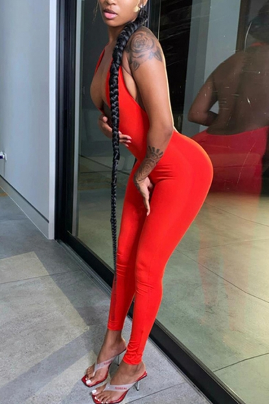 Womens Jumpsuit Chic Solid Color Backless Mention Butt Halter Deep V Neck Slim Fitted Sleeveless Jumpsuit