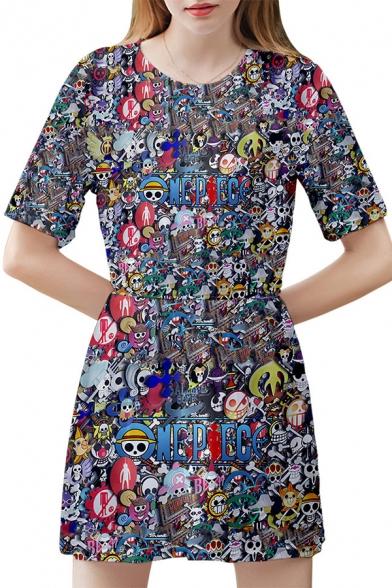 Cartoon World Printed Round Neck Short Sleeve Mini A-Line Dress