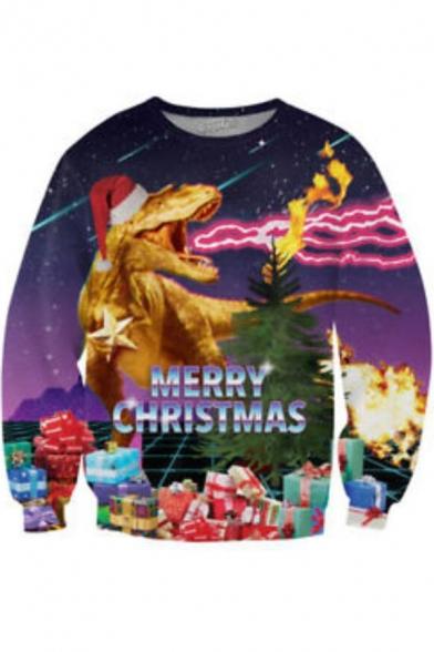 New Stylish Christmas Dinosaur Fire 3D Printed Long Sleeve Round Neck Purple Pullover Sweatshirts