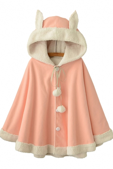 Novelty Womens Coat Contrast Patchwork Fuzzy-Ball Drawstring Button Detail Ear-Hood Long Sleeve Loose Fit Poncho