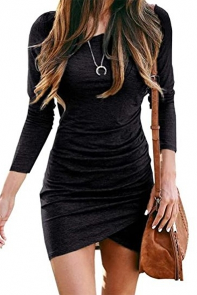 Spring's New Arrival Scoop Neck Long Sleeve Plain Bodycon Dress