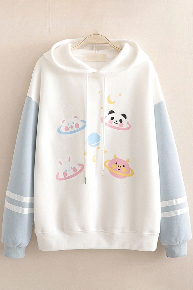 Vintage Girls Hoodie Cartoon Animal Planet Pattern Thickened Arm-Stripe Drawstring Long Contrast-Sleeve Relaxed Fitted Hooded Sweatshirt