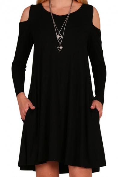 Women's Choker Cold Shoulder Hollow High Neck Long Sleeve Plain Midi Swing Dress