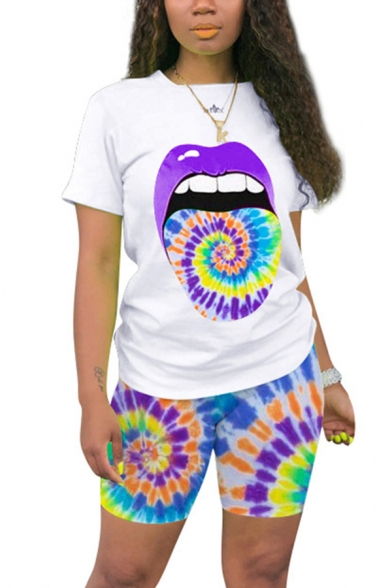 Womens Co-ords Stylish Slim Fitted Shorts Spiral Tie Dye Lip Print Crew Neck Short Sleeve Tee Lounge Co-ords
