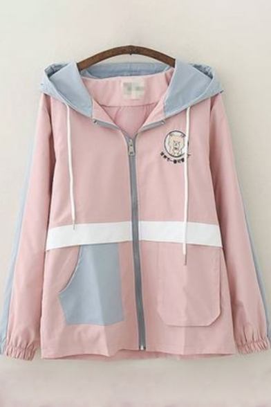 Womens Trench Coat Casual Color Block Panel Cartoon Cat Pattern Front Double-Pocket Zipper up Drawstring Hooded Loose Fit Long Sleeve Trench Coat