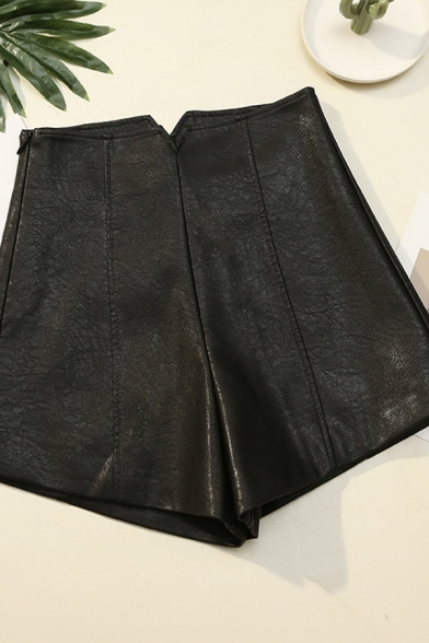 Basic Womens Shorts PU Leather Invisible Zipper Side Wide Leg High Waist Regular Fitted Relaxed Shorts