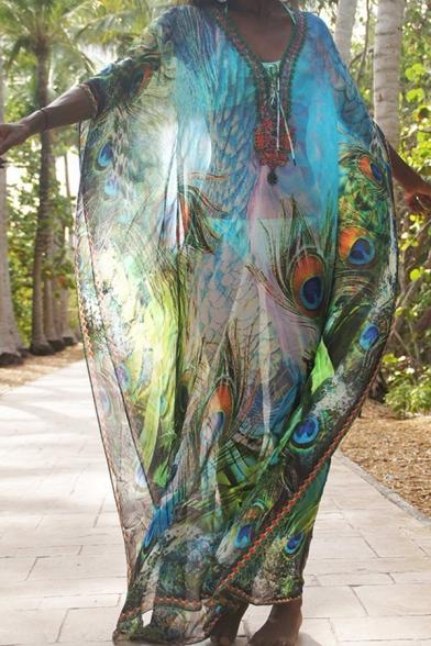 Elegant Women's Maxi Dress Peafowl Printed Contrast Trim Lace up V Neck Batwing Sleeves Maxi Dress