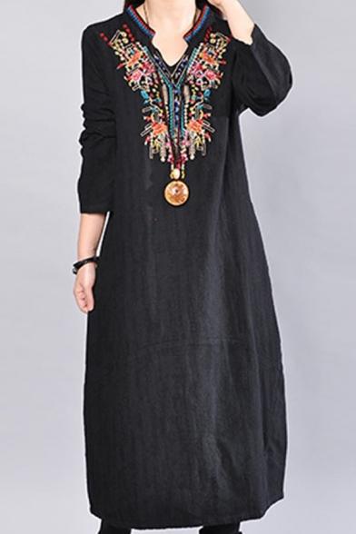 Moslem New Stylish V-Neck Long Sleeve Floral Tribal Print Embroidery Pockets Black Shift Swing Maxi Dress