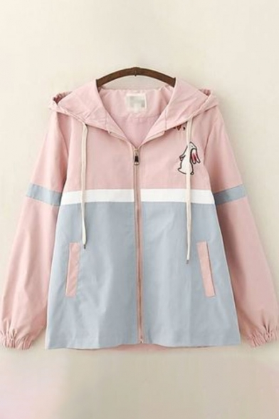 Novelty Womens Trench Coat Contrast Panel Rabbit Pattern Drawstring Zipper down Loose Fit Long Sleeve Hooded Trench Coat