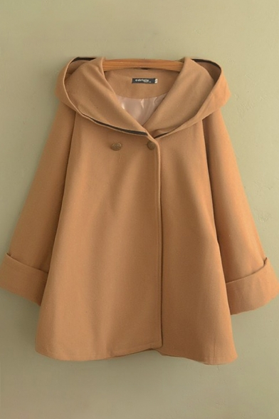 Preppy Style Womens Coat Solid Color Button Decoration Woolen Hooded Mid-Length Loose Fit Long Sleeve Poncho