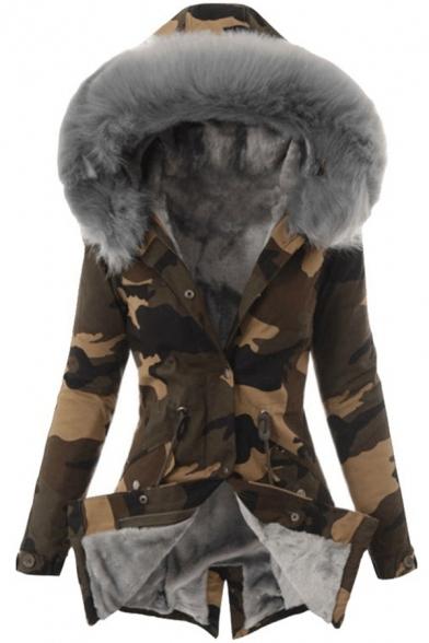 Retro Womens Coat Camo Fur-Trimmed Hood Mid-Length Zipper down Slim Fit Long Sleeve Parka