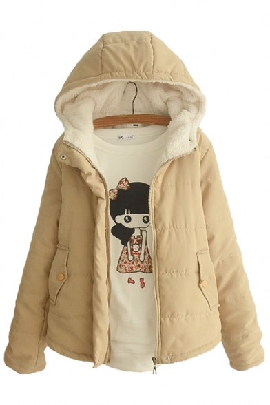 Womens Parka Stylish Candy Color Thickened Zipper down Loose Fit Long Sleeve Hooded Parka